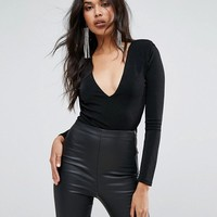 Missguided Shoulder Pad Plunge Neck Slinky Bodysuit at asos.com