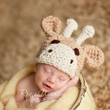 Baby Boy or Baby Girl Crochet Hat Little Giraffe Photography Prop Ready Item