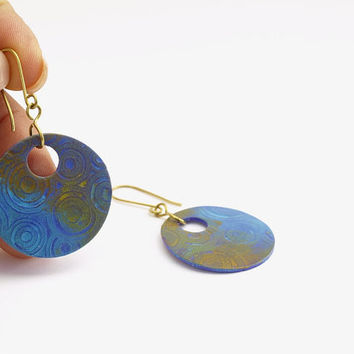 Purple Blue Orange Round Earrings, Hole Patina Earring, OOAK
