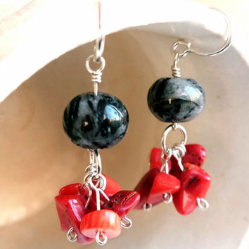 Red bamboo coral clusters - Gemstone sterling silver cluster earrings - Handmade birthstone earrings - Coral clusters - Boho earrings