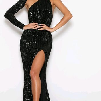 88a3270a3b Far From Over Black Sequin Long Sleeve One Shoulder Cut Out Backless Fit  And Flare Maxi