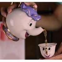 100% Gold Plate High Quality Cartoon Beauty and the Beast Teapot Mugs Collection Set Mrs. Potts Chip 2 Piece Teapot Coffee Cup