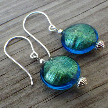 Blue and green lampwork earrings with silver plate beads