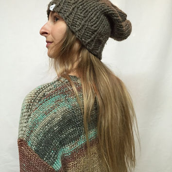 Knit Slouchy Hat Beanie Brown Tweed Barley Warm And Cozy