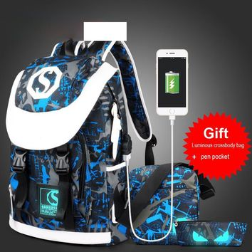 Fashion School Backpack For Teens Casual 15 Inch Laptop Bag USB Interface Charge Backpack Women Men's Backpack Bolsa Mochila