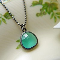 Mint Opal Glass Pendant Necklace In Gunmetal Finish