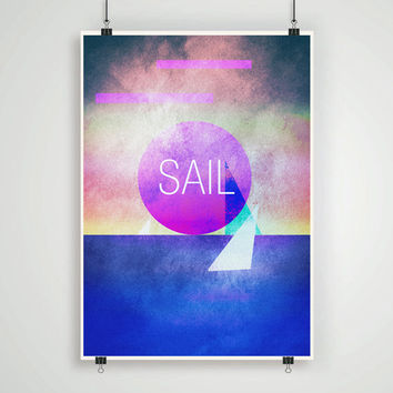 Sail wall art minimalistic abstract lanscape print poster retro modern art