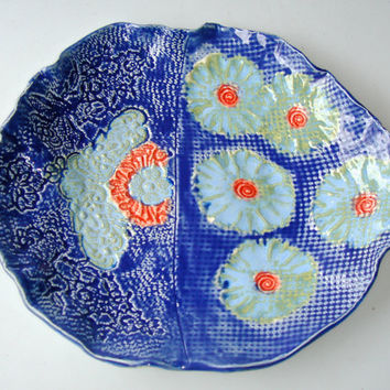 Ceramic Platter, FREE SHIPPING, indigo and coral lace and flowers