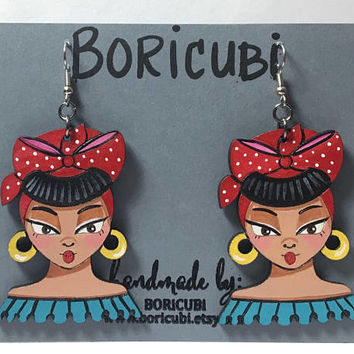 "Hand painted Wooden earrings ""Cubanita"" 2.25 inches Latina old school old Habana"
