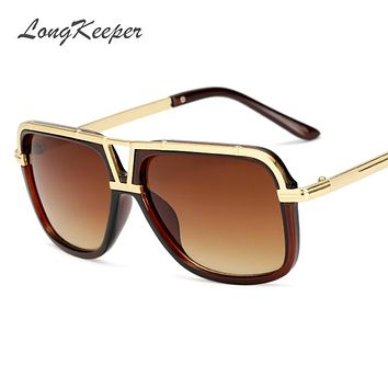 09aa99662801 LongKeeper Men's Sunglasses New Big Frame Goggle Summer Style Br