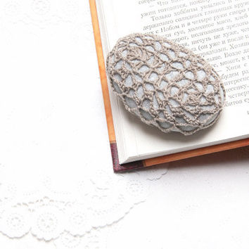 Crochet Covered Stone, Valentine's Day, Lace Stone, Paperweight, Home Decor, Beach Wedding,  Fiber Art Object, Beige