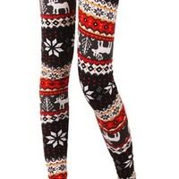 Woman/juniors' Colorful Snowflake Deer Print Knitted Leggings Tights - St. Valentine's Day Sale Price-One Size-M/L