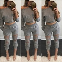One Shoulder Crop Top with Skinny Hole Pants Two Pieces Set