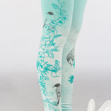 wonderland garden - light mint leggings with floral print and birds