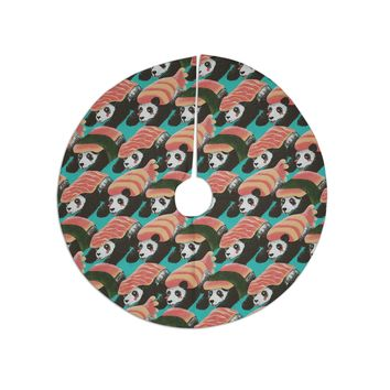"Tobe Fonseca ""Sushi Panda"" Orange Blue Tree Skirt"