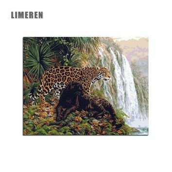 Frameless Leopard animal Jaguar Painting By Numbers Waterfall Jungle leopard