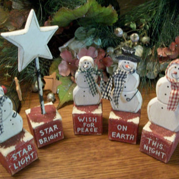 Wish for Peace on Earth Five Piece Snowman Family and Star Rustic Wooden Block Figurines Vintage Christmas Decoration