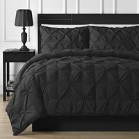 Double-Needle Durable Stitching Comfy Bedding 3-piece Pinch Pleat Comforter Set (Full, Black)