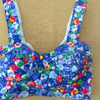 Vintage 90s Bralette Bustier Crop Top You Babes Sz. XS 4 Bright Floral Saved by the Bell Clueless Top Kelly Kapowski Summer Beach Top