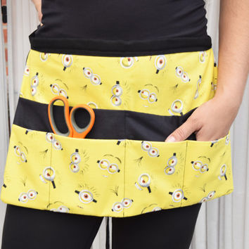 Despicable Me Minions Utility Apron - Cartoon Apron - Craft Show Apron - Make Up Brush Holder
