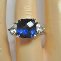 Created Sapphire CZ Ring Size 7 925 Sterling Silver Checkerboard Cut