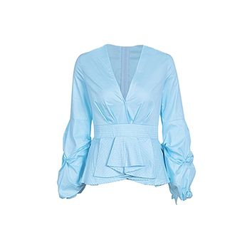 Busy Signals Gathered Long Sleeves Plunge V Neck Pleated Peplum Ruffle Blouse Top - 2 Colors Available