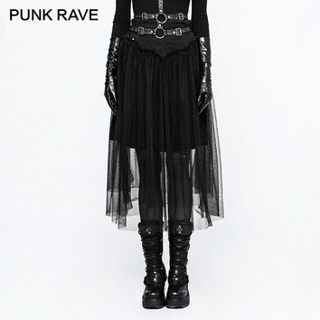 PUNK RAVE 2017 New Gothic Tulle Mesh Cloth Rope Lacing Skirt For Women Steampunk Black Skirts Simple All-Match A-Line High Waist