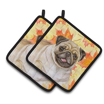Fawn Pug Fall Pair of Pot Holders BB9979PTHD