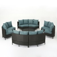 Venice Outdoor 10 Piece Gray Wicker Sectional Sofa Set with Teal Cushions
