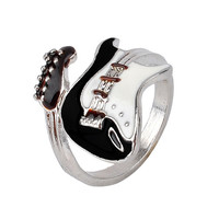 Personalized European Style Punk Style Bright Colorful Glazed Guitar Ring White And Black Ring Musical Tools Bijoux