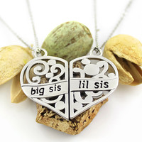 Sisters Double Heart Necklace, Sister Necklace Set (2pcs), Big Sis Lil Sis Pendant