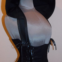 Black Under Bust Corset and Add-A-Hood by LoriAnn Costume Designs - Custom size