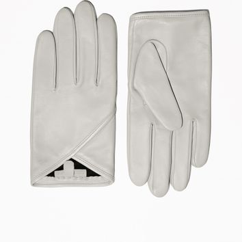 & Other Stories | Overlapping Fold Leather Gloves | Grey