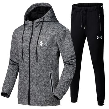 Under Armour Casual Hoodie Top Sweater Pants Trousers Set Two-piece Sportswear Grey