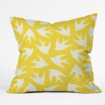 Jacqueline Maldonado Birds Yellow Throw Pillow