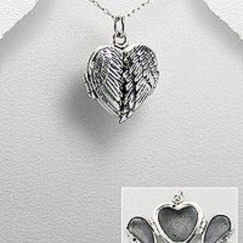 Angel wings sterling silver heart locket
