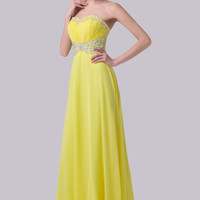 Yellow Beaded  Empire Waist Pleated Chiffon Maxi Dress