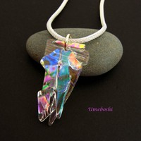 Crystal Rainbows Handmade Clear Dichroic Glass Free-form Jewelry Pendant Necklace