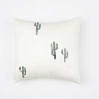 16x16 Green and Cream Cactus Print Pillow Cover, cotton