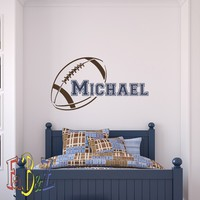 Boys Name Wall Decal American Football Wall Decals Personalized Boy Custom Initial Name Nursery Kids Teens Room Playroom Wall Art Sports Decor