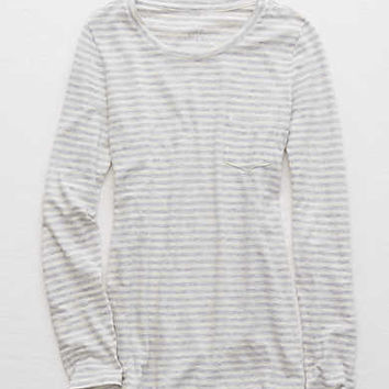Aerie Real Soft® Striped Tee, Medium Heather