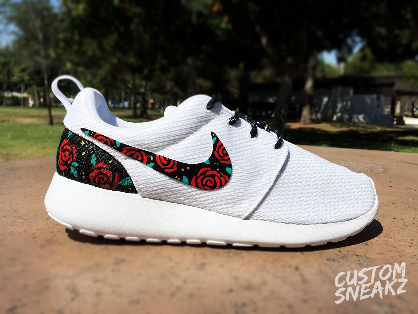 Womens Custom Nike Roshe Run sneakers, Rose Gold design, Red Roses with  teal leaves an