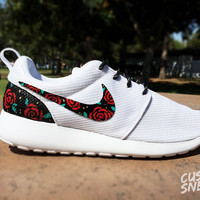 Womens Custom Nike Roshe Run sneakers, cute design Roses, Floral, Bed of red roses, womens custom sneakers, Customized sneakers, Fashionable design