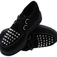 Black suede spiked low sole creeper - T.U.K. Shoes
