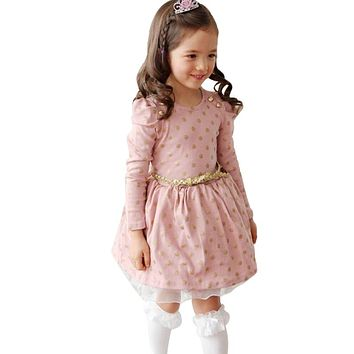Toddler Girls Autumn Winter Party Dress Kids Long Sleeve Spot Polka Dots Dresses Girls  Dress Baby Boutique Clothing