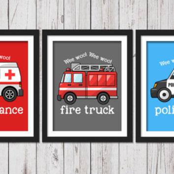 Rescue firetruck, police car ambulance boys wall art, transportation Decor, Rescue cards decor, police car art, ambulance art, firetruck art