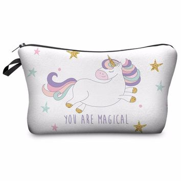 Super Fun White You are Magical Unicorn Photo Printed Makeup Cosmetic Zippered Pouch/Bag
