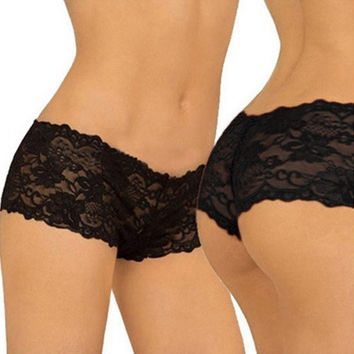 Women's Fashion Transparent Sexy Flowers Lace Panties Seamless Plus Size Panty Briefs Underwear = 1931911364