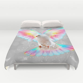 The Key is to Believe in the Impossible (Neon Wings Series III) Duvet Cover by soaring anchor designs ⚓ | Society6
