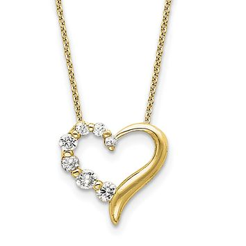 Sterling Silver Vermeil CZ Heart Journey Necklace 18 In